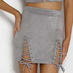 Lace up suede skirt ( white fox boutique)